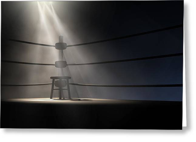 Ominous Greeting Cards - Vintage Boxing Corner And Stool Greeting Card by Allan Swart