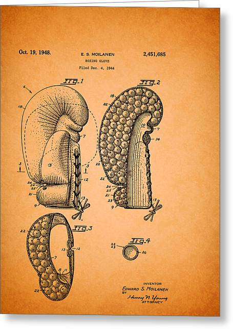 Sports Glove Drawings Greeting Cards - Vintage Boxing Glove Patent 1948 Greeting Card by Mountain Dreams