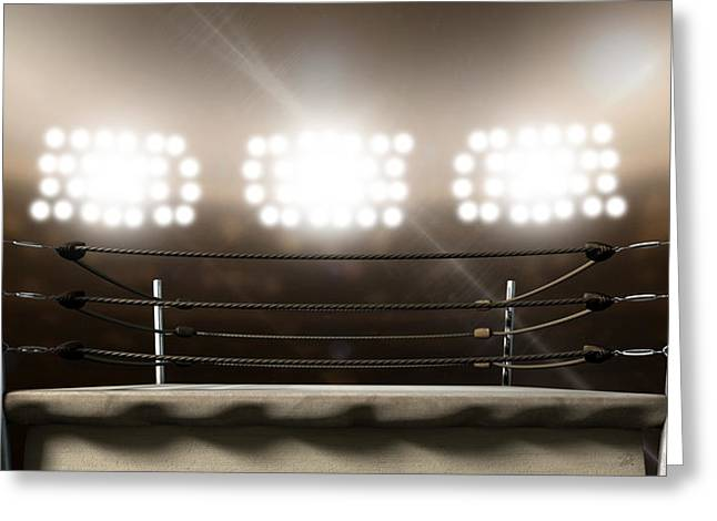 Boxing Rings Greeting Cards - Vintage Boxing Ring In Arena Greeting Card by Allan Swart