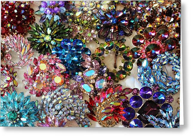 Sapphire Jewelry Greeting Cards - Vintage Brooches II Greeting Card by Peggy Davis