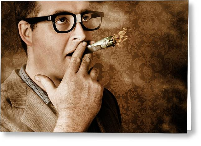 Young Money Greeting Cards - Vintage business man smoking money in success Greeting Card by Ryan Jorgensen