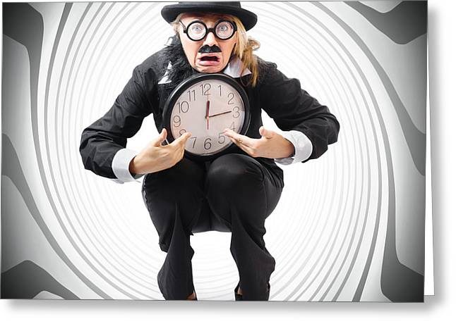 Completion Greeting Cards - Vintage business man stuck with clock. Time crunch Greeting Card by Ryan Jorgensen