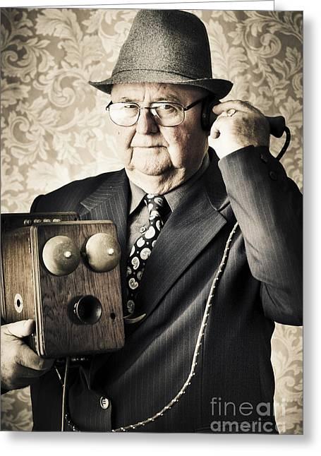 Exchanging Information Greeting Cards - Vintage business man using retro telephone Greeting Card by Ryan Jorgensen