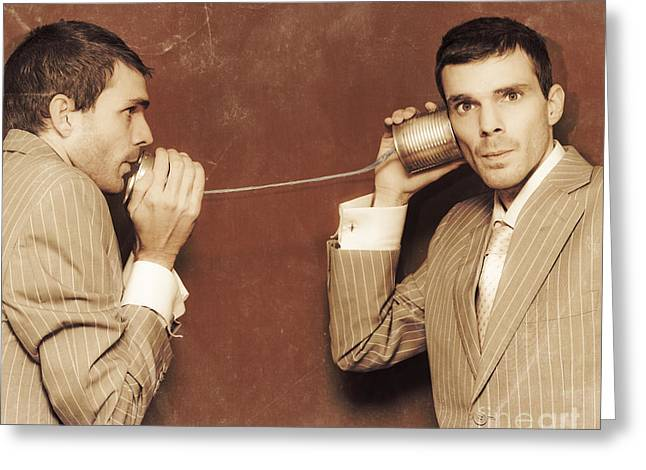 Conscience Greeting Cards - Vintage Business People Talking On Can Telephone Greeting Card by Ryan Jorgensen