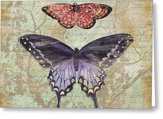 Monarch Greeting Cards - Vintage Butterfly IV Greeting Card by Paul Brent