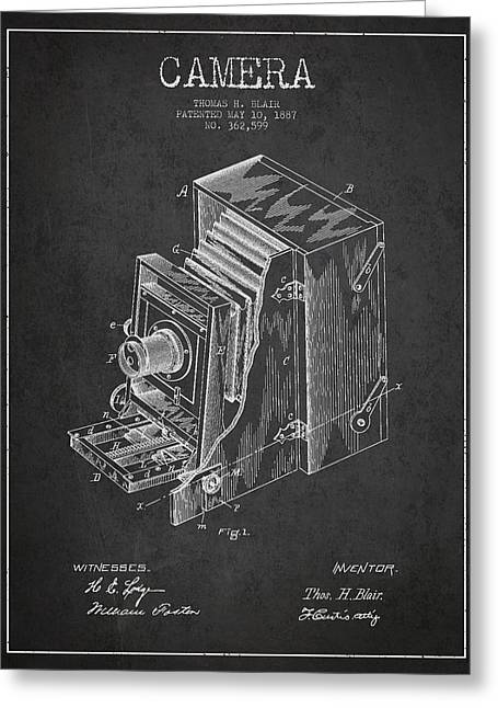 Famous Photographer Greeting Cards - Vintage Camera Patent Drawing from 1887 Greeting Card by Aged Pixel
