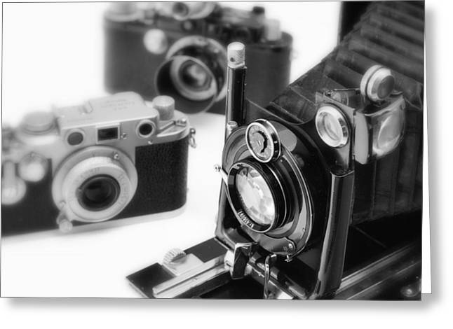 Aperture Greeting Cards - Vintage Cameras Greeting Card by Chevy Fleet