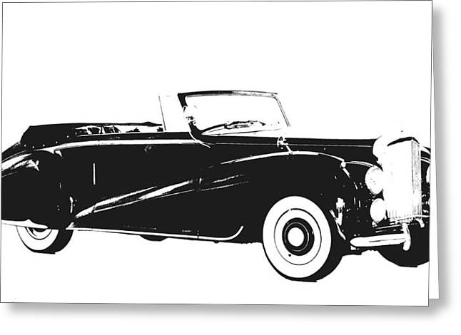 White Greeting Cards - Vintage Car Greeting Card by Sheela Ajith