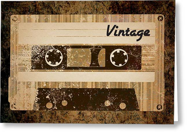 Vintage Cassette Greeting Card by Sara Ponte