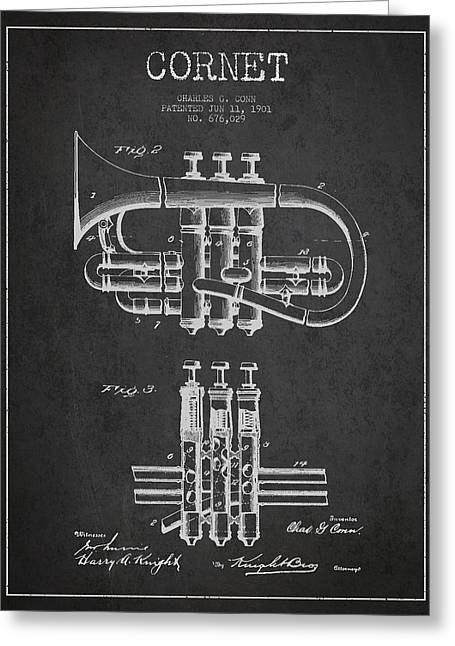 Trumpet Digital Greeting Cards - Cornet Patent Drawing from 1901 - Dark Greeting Card by Aged Pixel