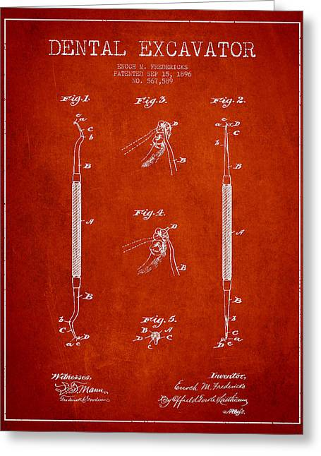 Excavator Greeting Cards - Vintage Dental Excavator Patent Drawing From 1896 - Red Greeting Card by Aged Pixel
