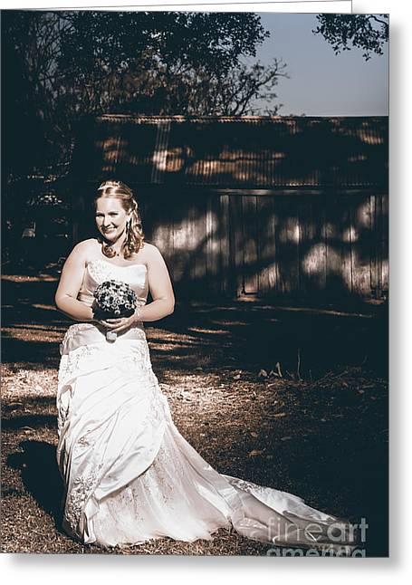 Brides Dress Greeting Cards - Vintage elegant bride at rural Australian wedding Greeting Card by Ryan Jorgensen