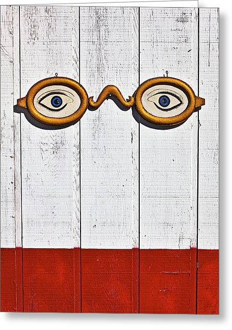 Vintage Eye Sign On Wooden Wall Greeting Card by Garry Gay