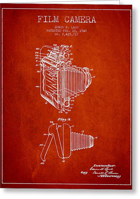 Famous Photographer Greeting Cards - Vintage film camera patent from 1948 Greeting Card by Aged Pixel