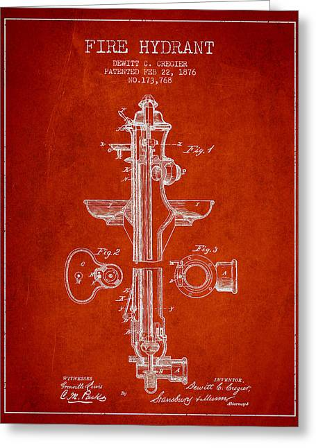 Firefighter Greeting Cards - Vintage Fire Hydrant Patent from 1876 Greeting Card by Aged Pixel