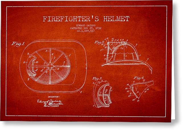 Firefighter Greeting Cards - Vintage Firefighter Helmet Patent drawing from 1932 Greeting Card by Aged Pixel