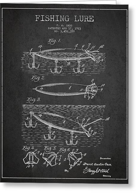Tackle Greeting Cards - Vintage Fishing Lure Patent Drawing from 1923 Greeting Card by Aged Pixel