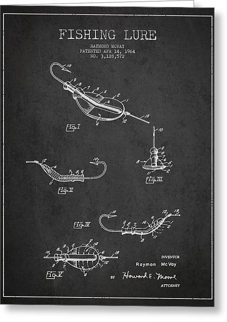 Fishing Greeting Cards - Vintage Fishing Lure Patent Drawing from 1964 Greeting Card by Aged Pixel