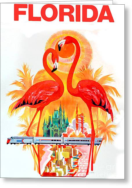 Vintage Key Greeting Cards - Vintage Florida Travel Poster Greeting Card by Jon Neidert