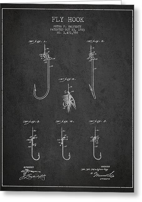 Fly Fishing Digital Art Greeting Cards - Vintage Fly Hook Patent Drawing From 1923 Greeting Card by Aged Pixel