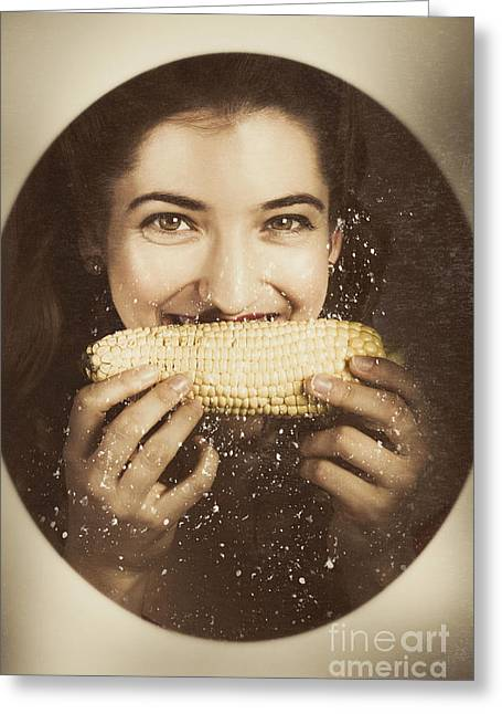 Corn Kernel Greeting Cards - Vintage food product advert. Woman eating corncob  Greeting Card by Ryan Jorgensen