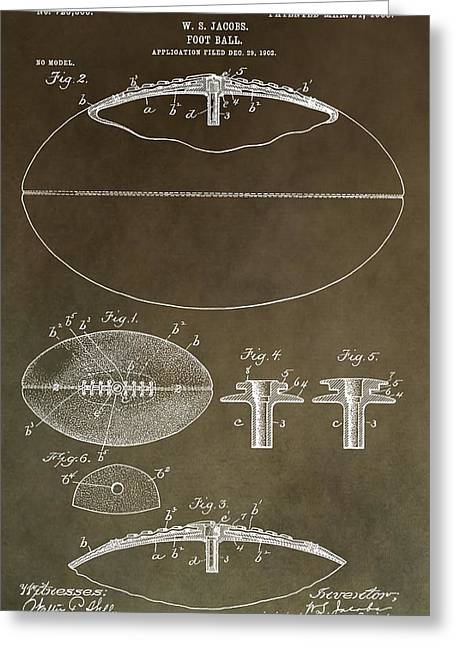 National Football League Mixed Media Greeting Cards - Vintage Football Patent Greeting Card by Dan Sproul