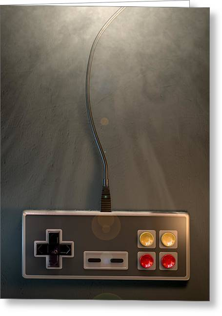 Console Greeting Cards - Vintage Gaming Controller Greeting Card by Allan Swart