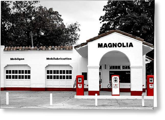 Arkansas Greeting Cards - Vintage Gas Station - Little Rock Arkansas Greeting Card by Mountain Dreams