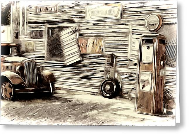 Vintage Gas Greeting Card by Steve McKinzie