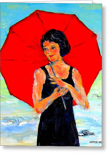 Maine Beach Greeting Cards - Vintage girl with umbrella Greeting Card by Joyce  Kenney
