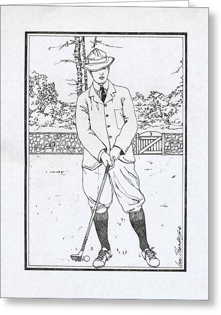 Apparel Drawings Greeting Cards - Vintage Golfer Greeting Card by Ira Shander
