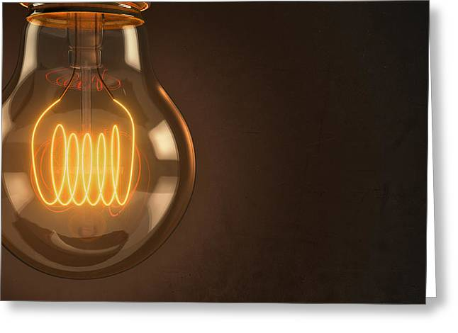 Shining Light Greeting Cards - Close Up Vintage Hanging Light Bulb Greeting Card by Scott Norris