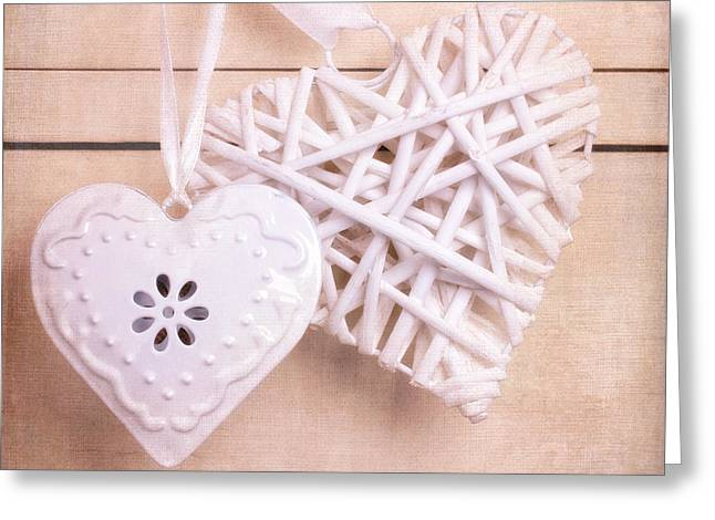 Enamel Greeting Cards - Vintage hearts with texture Greeting Card by Jane Rix