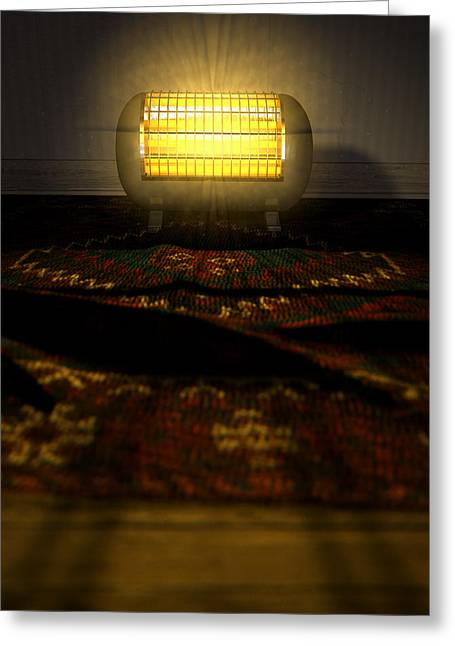 Vintage Appliance Greeting Cards - Vintage Heater On Persian Carpet Greeting Card by Allan Swart