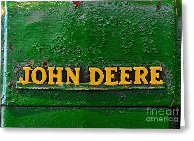 Pull Greeting Cards - Vintage John Deere Tractor Greeting Card by Paul Ward