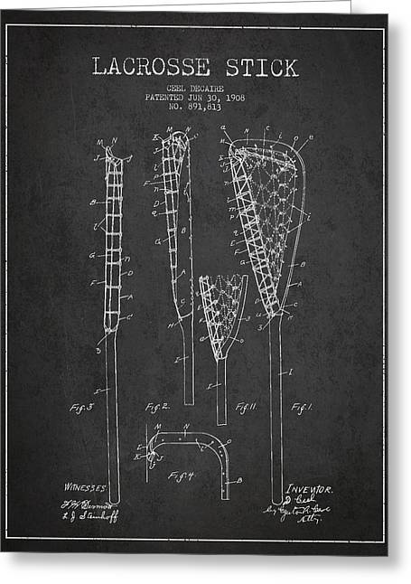 Goalie Greeting Cards - Vintage Lacrosse Stick Patent from 1908 Greeting Card by Aged Pixel