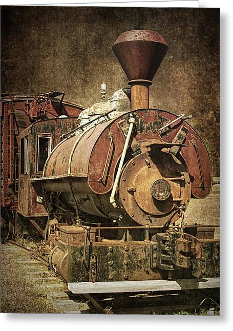 1880s Greeting Cards - Vintage Locomotive Train Engine Greeting Card by Randall Nyhof