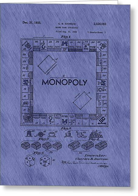 Monopoly Greeting Cards - Vintage Monopoly Game Patent Greeting Card by Mountain Dreams