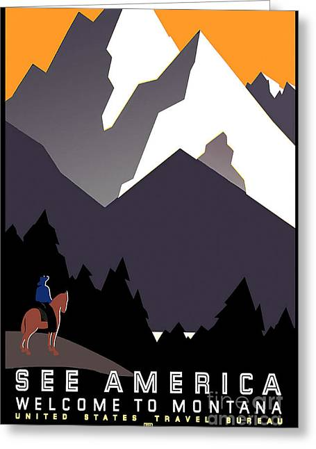Vintage Travel Greeting Cards - Vintage Montana Travel Poster Greeting Card by Jon Neidert