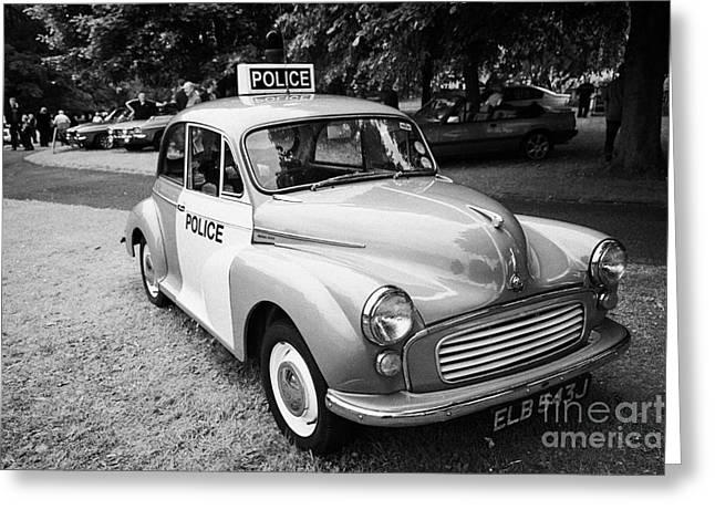 Vintage Morris Minor Police Car At A Car Rally County Down Northern Ireland Uk Greeting Card by Joe Fox