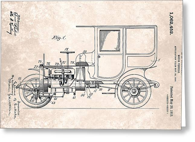 Innovator Greeting Cards - Vintage Motor Vehicle Patent From 1913 Greeting Card by Celestial Images