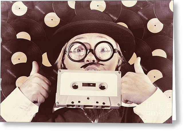 Mixtape Greeting Cards - Vintage music woman giving thumb up to retro songs Greeting Card by Ryan Jorgensen