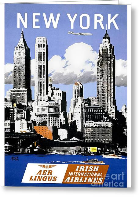 Brochure Greeting Cards - Vintage New York Travel Poster Greeting Card by Jon Neidert