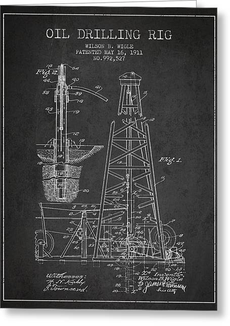 Properties Greeting Cards - Vintage Oil drilling rig Patent from 1911 Greeting Card by Aged Pixel