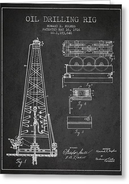 Exclusive Greeting Cards - Vintage Oil drilling rig Patent from 1916 Greeting Card by Aged Pixel