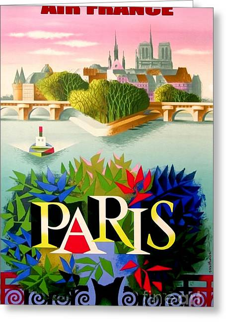 Vintage Air Planes Greeting Cards - Vintage Paris Travel Poster Greeting Card by Jon Neidert