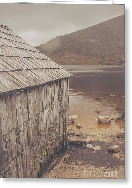Cradle-mountain Greeting Cards - Vintage photo of an Australian boat shed Greeting Card by Ryan Jorgensen
