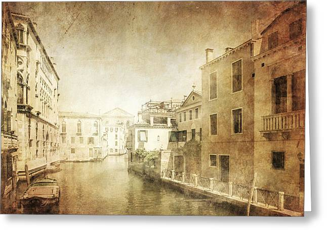 Vintage Photo Of Venetian Canal Greeting Card by Evgeny Kuklev