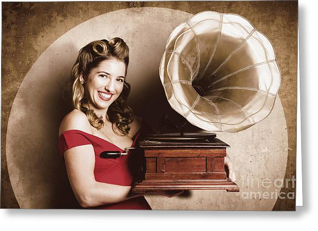 Juke Joint Greeting Cards - Vintage pin-up girl listening to record player Greeting Card by Ryan Jorgensen