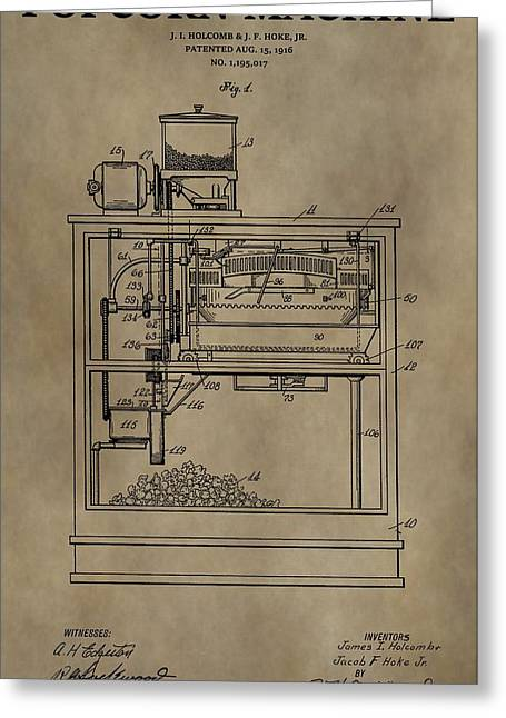 Snack Drawings Greeting Cards - Vintage Popcorn Machine Patent Greeting Card by Dan Sproul